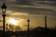 Sunset in Paris. Eiffel Tower. Sunset in Paris, with Eiffel Tower behind Champs Élysées royalty free stock photos