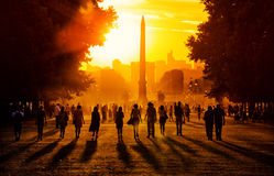 Sunset in Paris. People strolling in the Tuileries Gardens during the sunset in Paris, France