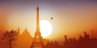 View of Paris with the Eiffel Tower and the Sacred Heart on a sunny day. vector illustration