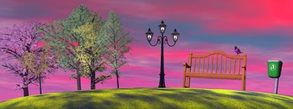 Sunset in a park royalty free illustration