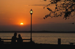 Sunset at the Park. With Lightpost Royalty Free Stock Photos