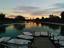 Sunset in Europa Park, Torrejón de Ardoz, Madrid, España Royalty Free Stock Photos