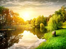 Sunset in the park. Sunset over calm river in the park Stock Images