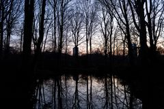 BERLIN, GERMANY - JANUARY 14, 2017: sunset at Tiergarten stock photo