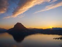 Sunset at Park St. Michael, Lugano Royalty Free Stock Image