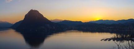 Sunset at Park St. Michael, Lugano Stock Image