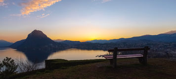 Sunset at Park St. Michael, Lugano Royalty Free Stock Photo