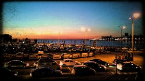Sunset parking Stock Images