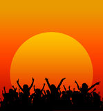 Sunset party. Sunset during a party, concert or festival Royalty Free Stock Image