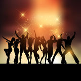 Sunset party. Silhouettes of people dancing against a sunset sky vector illustration