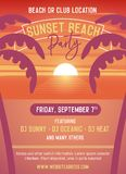 Sunset party template for beach event. Vector illustration design easily editable with your text. Beach illustration with palmtrees and the sunset at the sea royalty free illustration