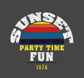 `sunset, party time, fun` typography, sporting tee shirt graphics royalty free illustration