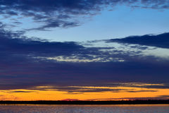 Sunset in pastel colors. White sea, Russia Royalty Free Stock Photo