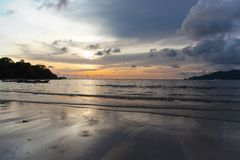 Sunset Patong beach, Phuket, Thailand Stock Photos