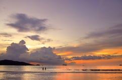 Sunset at the Patong beach, Phuket, Thailand Stock Images