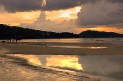 Sunset at the Patong beach, Phuket, Thailand Royalty Free Stock Image