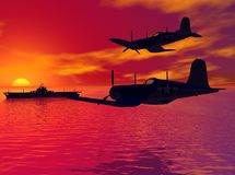 Sunset Patrol. Two WWII era American planes patrol the airspace over a carrier at sea.  3D model, computer generated Stock Image