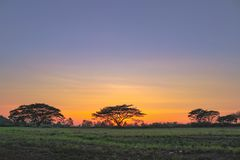 Sunset at Pattaya Golf Country club stock photo