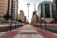 Sunset at Paulista Avenue in Sao Paulo, Brazil.  Royalty Free Stock Photography