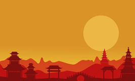 At sunset pavilion landscape of silhouettes. Vector art Stock Photo