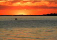 Sunset with pedal boat on Lake Constance stock image