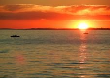 Sunset with pedalos on Lake Constance stock photography