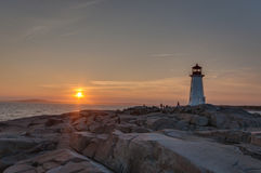 Sunset at Peggy`s Cove Stock Photography
