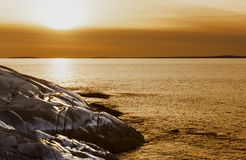 Sunset at Peggy`s Cove Royalty Free Stock Photos