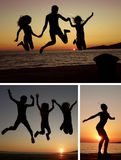 Sunset people collage royalty free stock images