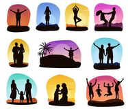 Sunset people vector silhouette of family or loving couple characters seeing sunrise illustration set of tropical card. With woman man and kids on ocean beach Royalty Free Stock Photos