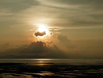 Sunset. In Perlis,Malaysia where hidden behind clouds Stock Photo