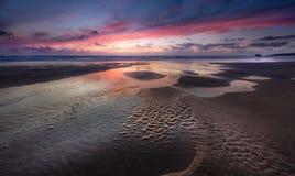 Sunset, Perran Sands, Cornwall stock photos