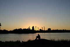 Sunset Perthscape. Sunset on the city of Perth Western Australia stock photos