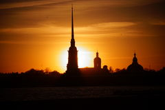 Sunset Peterburg. Beautiful sunset in Saint-Petersburg, Peter and Paul fortress, ognennoe the sky Royalty Free Stock Images