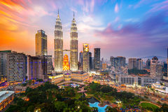 Sunset of Petronas Towers. Royalty Free Stock Photography