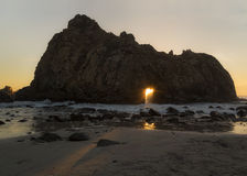 Sunset at Pfeiffer Beach Royalty Free Stock Photography