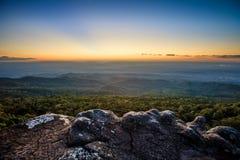 Sunset at Pha Choo Thong. View from Pha choo thong ,Phu Hin Rong Kla National Park ,Thailand Stock Photography