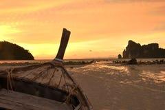Sunset of phi phi island. Beautiful colour of sunset in lo da lam bay phi phi island krabi royalty free stock photo