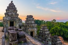 Sunset at Phnom Bakheng Temple, Angkor Wat, Cambodia. Sunset at Phnom Bakheng Temple in Angkor Wat Complex in Cambodia Royalty Free Stock Photos