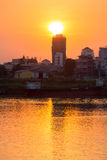 Sunset in Phnom Penh city and the Mekong River, Cambodia Royalty Free Stock Photography