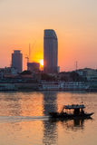 Sunset in Phnom Penh city and the Mekong River, Cambodia Stock Photos