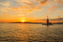 Sunset photo at the maiden`s tower, istanbul. Royalty Free Stock Photo