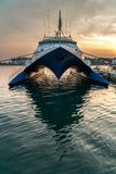 Porec - Prince of Venice. Sunset photo of the special looking ship Prince of Venice in the harbour of Poreč, istria, Croatia, Europe Royalty Free Stock Photos