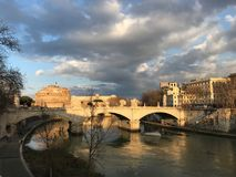 River Tevere sunset royalty free stock image