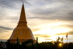 Sunset Phra Pathom Chedi biggest Sanctuary is a vital part of Th. Ailand Royalty Free Stock Images