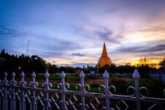 Sunset Phra Pathom Chedi biggest Sanctuary is a vital part of Th. Ailand Royalty Free Stock Photo
