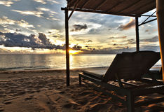 Sunset in Phu Quoc close to Duong Dong with sun be Royalty Free Stock Photos
