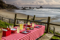 Sunset Picnic on Ocean Overlook Royalty Free Stock Images