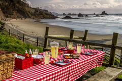 Sunset Picnic on Ocean Overlook Stock Photography