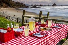 Sunset Picnic on Ocean Overlook Stock Photos